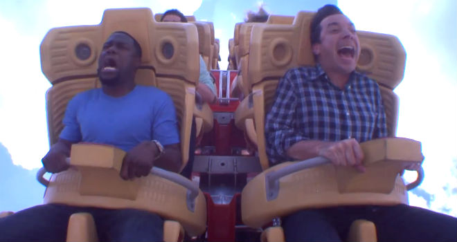 Kevin Hart and Jimmy Fallon roller coaster ride