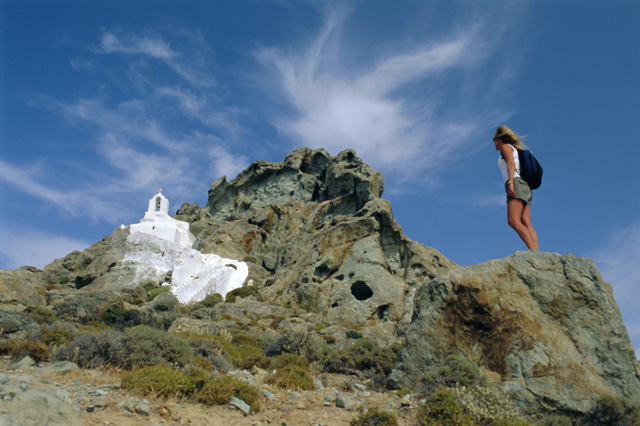 Woman hiking in Naxos, Greece