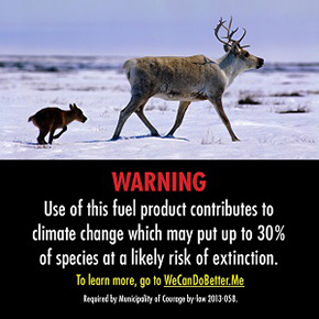 Gas pump warning label