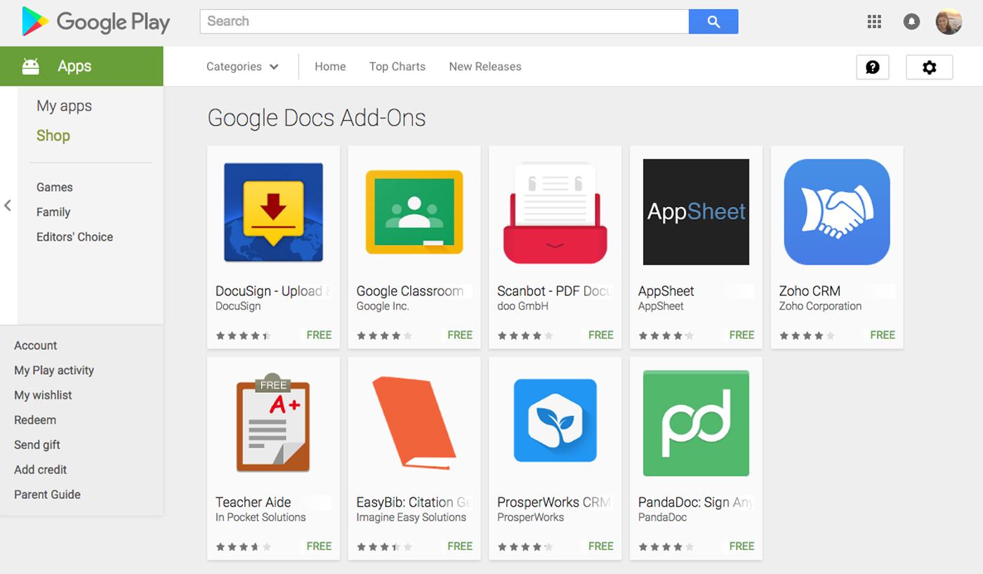 移动版 Google Docs 和 Sheets 都支持第三方插件了