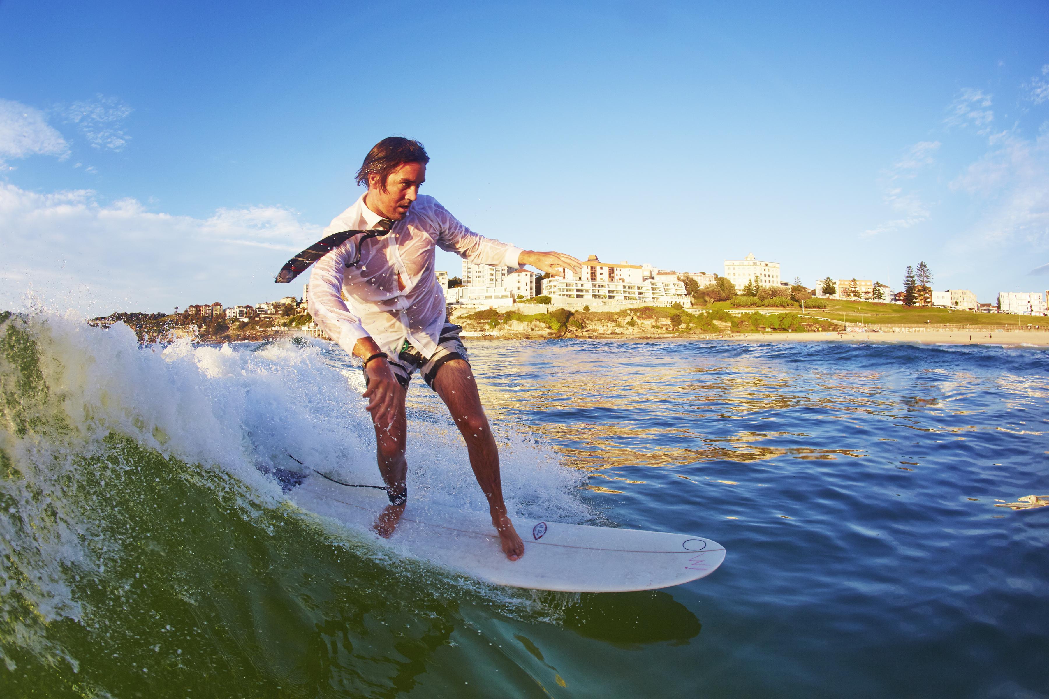 Grant Trebilco surfing at OneWave's first 'Fluro