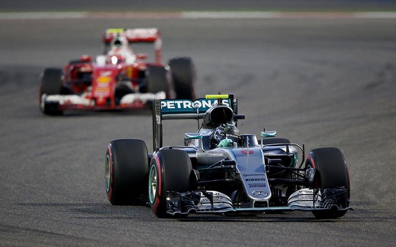 Nico Rosberg leads the 2016 Bahrain F1 Grand Prix.