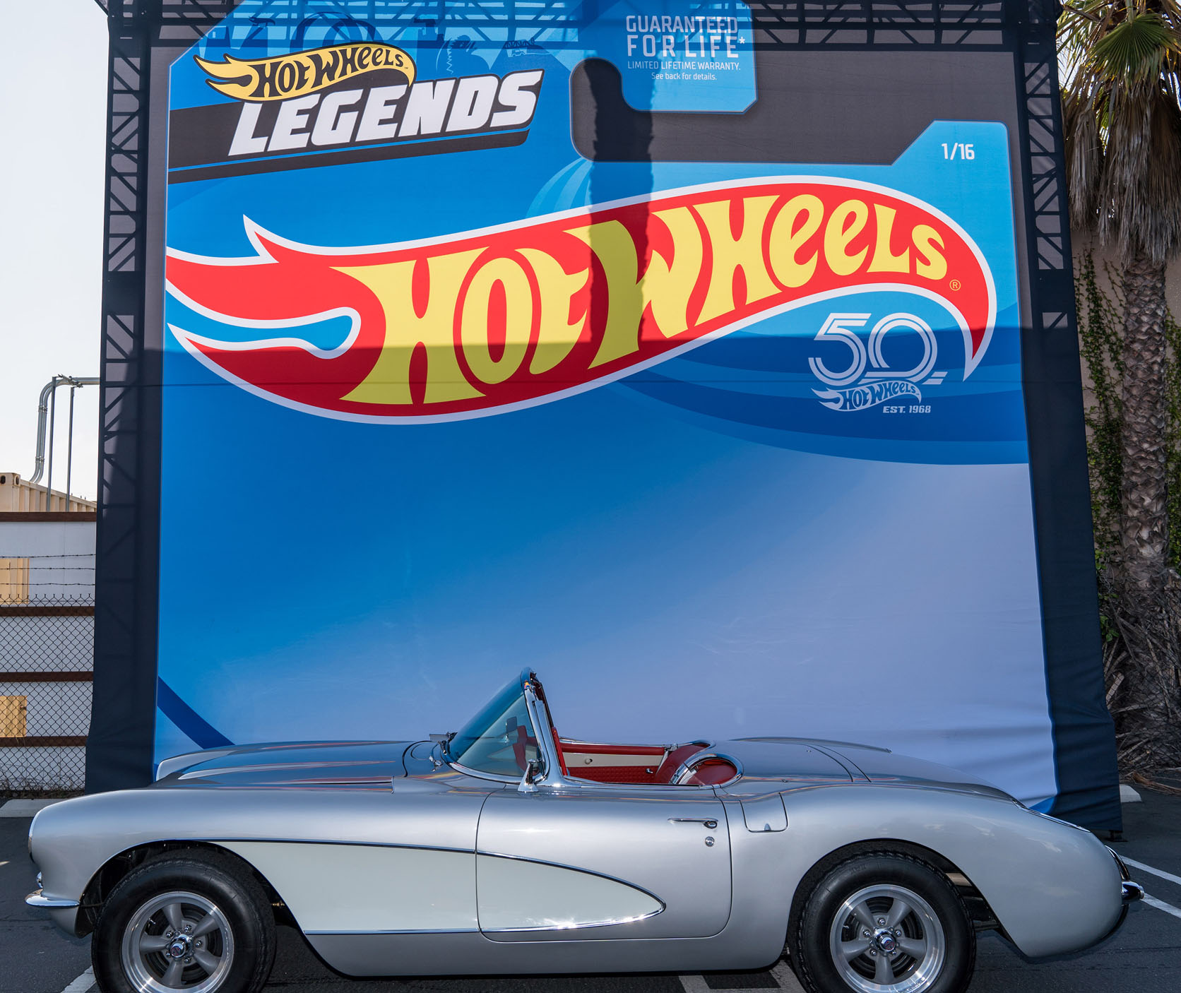 "Jay Leno, host of ""Jay Leno's Garageâ€, showcases his '57 Chevrolet Corvette at the Hot Wheels Legends Tour kick-off event in Los Angeles, CA. Learn More at www.HotWheels.com/LegendsTour (Paul A Hebert/Feature Photo Service)"