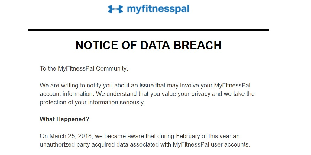 Under Armour data breach affects 150 million MyFitnessPal users