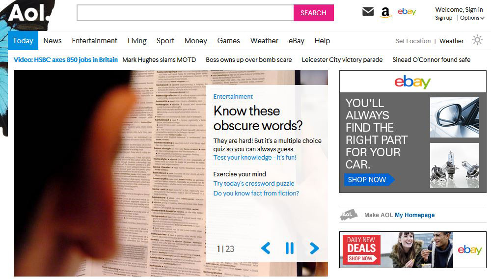 The AOL UK Homepage