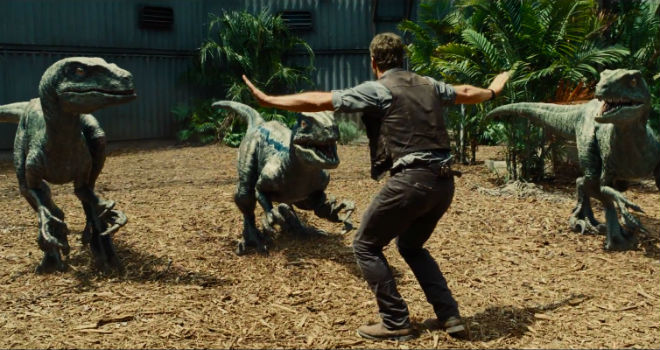 chris pratt tames raptors in jurassic world
