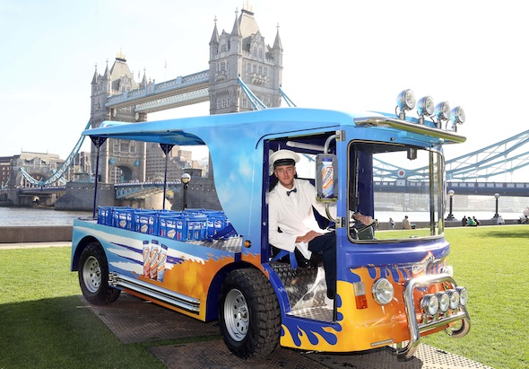 EDITORIAL USE ONLY England cricketer Stuart Broad sits on a super-milk float at Potters Field in central London, to launch Weetabix On the Go Breakfast Drinks. PRESS ASSOCIATION Photo.  Picture date: Wednesday April 9, 2014.   Photo credit should read: Geoff Caddick/PA