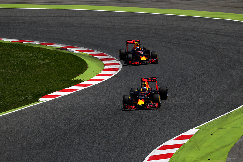 Daniel Ricciardo of Australia drives the Red Bull Racing Red Bull-TAG Heuer RB12 TAG Heuer ahead of Max Verstappen of Netherlands and Red Bull Racing during the Spanish Formula One Grand Prix.