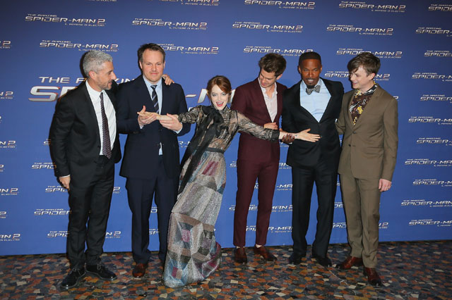 ROME, ITALY - APRIL 14:  (L-R) Matt Tolmach, Marc Webb, Emma Stone, Andrew Garfield, Jamie Foxx and Dane DeHaan attend the 'The Amazing Spider-Man 2: Rise Of Electro' premiere at The Space Moderno on April 14, 2014 in Rome, Italy.  (Photo by Ernesto Ruscio/WireImage)