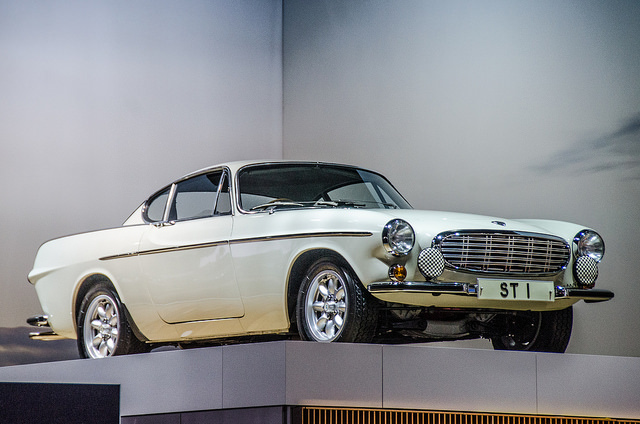 A Volvo P1800 from the 1960 British TV series 'The Saint' on display at the 2016 New York International Automobile Show.