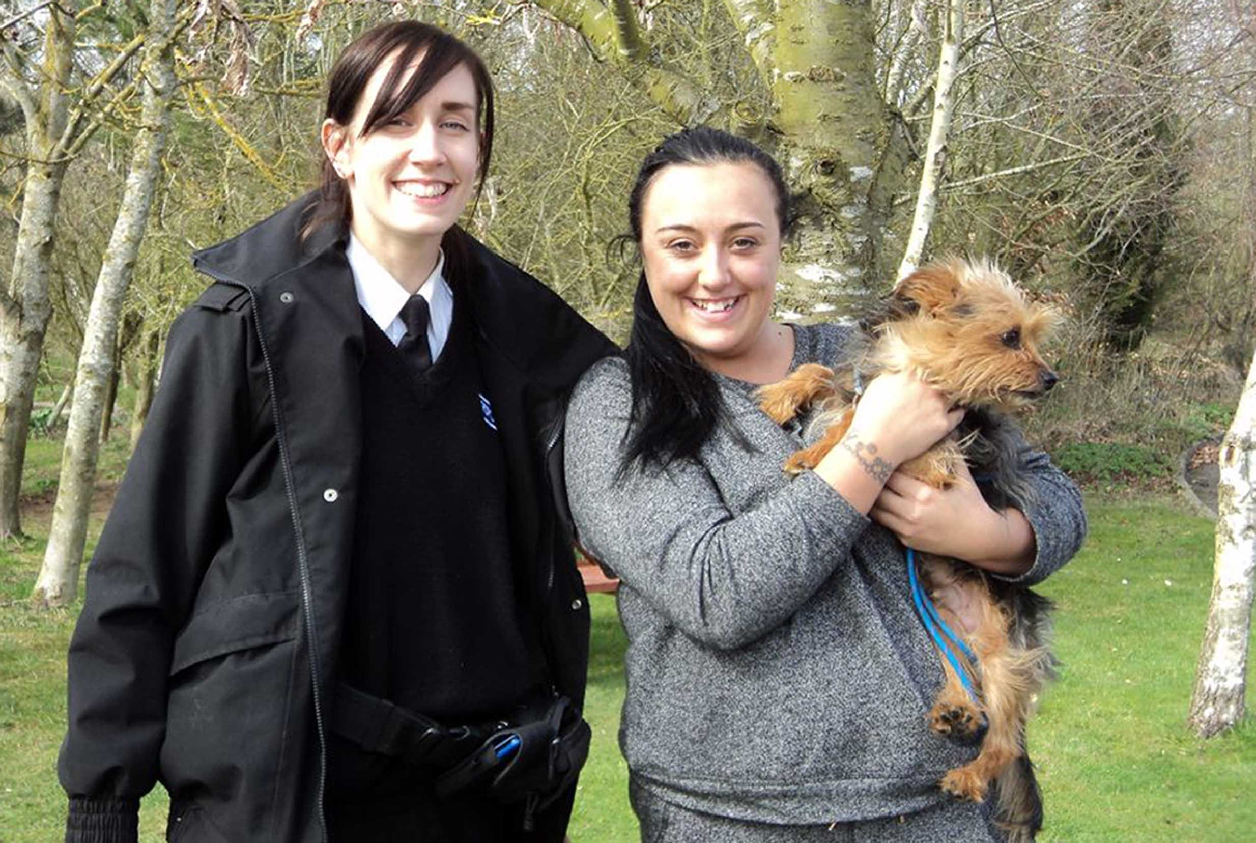 BEST QUALITY AVAILABLEUndated handout photo issued by RSPCA of Alfie, with RSPCA inspector Stephanie Law (left) and owner Kirsty Mitton (right), as the stolen dog dumped by callous thieves engineered a rescue by flagging down a passing RSPCA van more than 100 miles from its home. PRESS ASSOCIATION Photo. Issue date: Wednesday April 8, 2015. Alfie the Yorkshire Terrier brought charity inspector Stephanie Law's van to a halt on a country road in Buckinghamshire, after dashing out of nearby woodland and into the middle of the lane, barking. Braking to a stop, Ms Law then opened her door only for Alfie to immediately jump inside. See PA story ANIMALS Rescue. Photo credit should read: RSPCA/PA WireNOTE TO EDITORS: This handout photo may only be used in for editorial reporting purposes for the contemporaneous illustration of events, things or the people in the image or facts mentioned in the caption. Reuse of the picture may require further permission from the copyright holder.