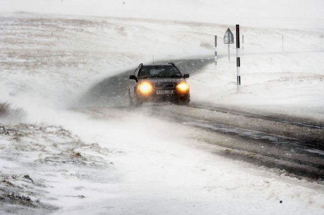 A blizzard makes driving difficult at the Buttertubs Pass near Hawes with snow,ice and blizzard conditions affecting many roads Picture Date: Monday, February 23 , 2015. Photo Credit Should Read John Giles/PA