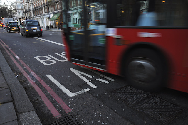 A general view of a bus lane in central London as transport bosses have welcomed a court ruling on their policy of banning private hire vehicles from bus lanes.