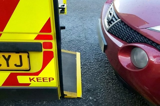 Paramedics have released photographs of a car parked behind an ambulance - blocking the vehicle and delaying a patient from being taken to hospital.   See NTI story NTIBLOCK.  Crews from West Midlands Ambulance Service took the pictures when they returned to their vehicle with a patient and found a car had parked directly behind them - meaning they struggled to put the stretcher inside.