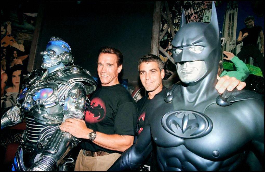 "The stars of the film ""Batman & Robin,"" actors Arn"