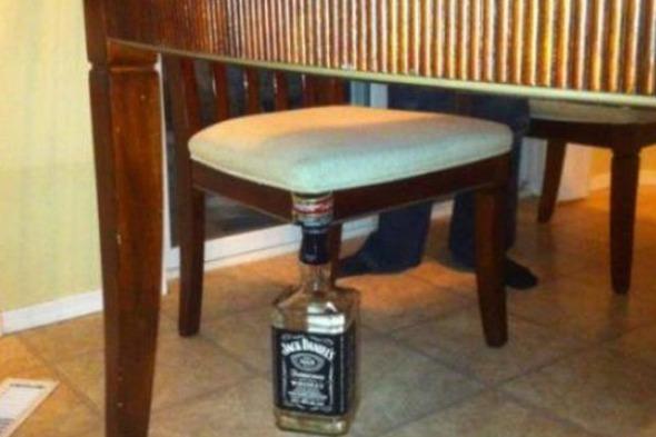 Jack Daniels as a chair leg