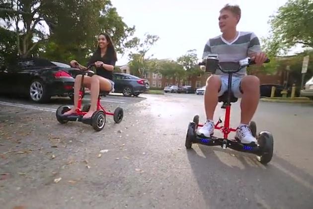 【ビデオ】市販のホバーボードを取り付けて走る4輪の新たな乗物「ホバーバイク」が登場!