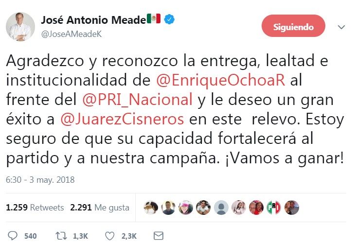 Meade admite que remoción de Ochoa Reza fue su