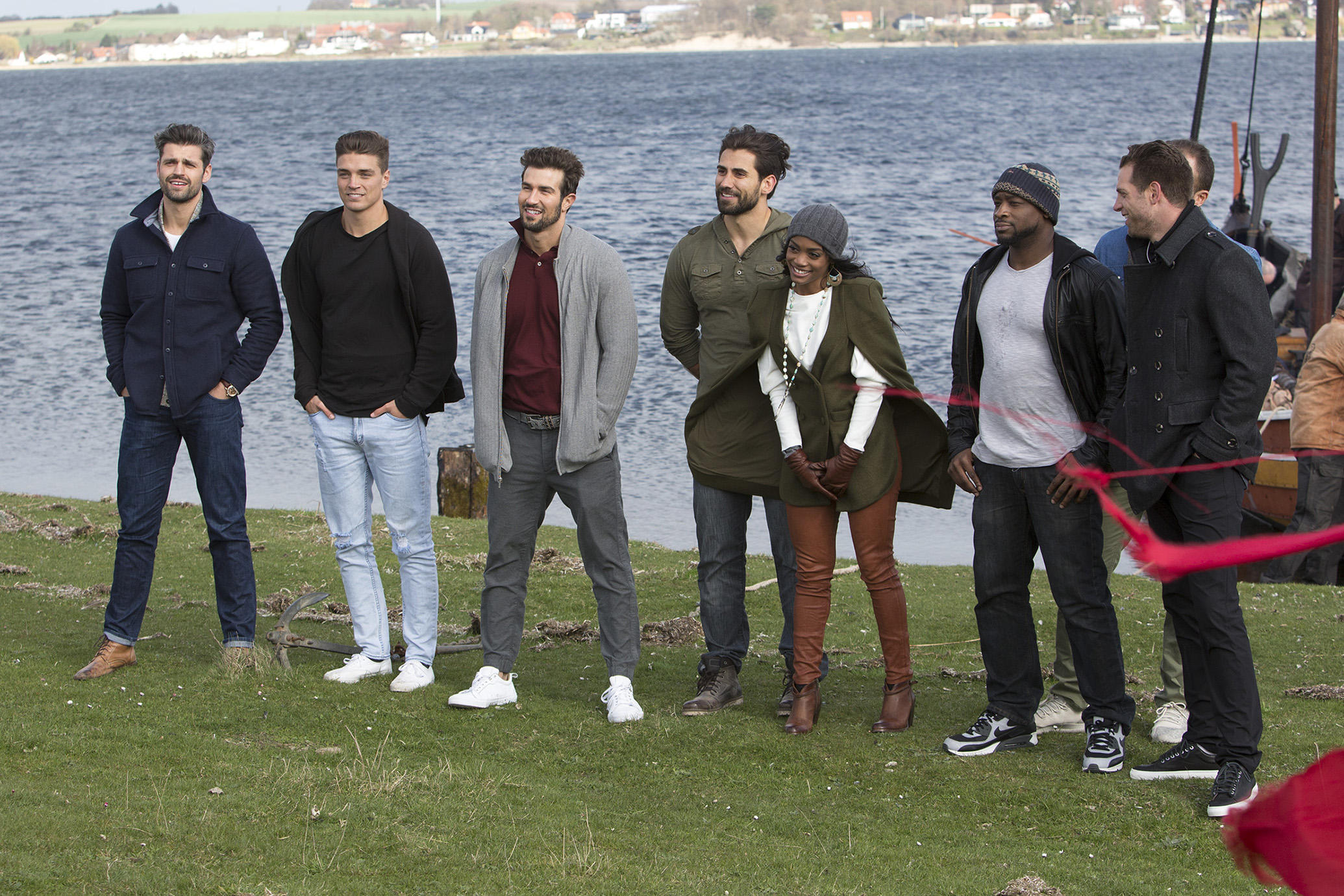 "BACHELORETTE 13 - ""Episode 1306"" -  As the two-on-one date between Kenny and Lee amps up, Kenny, the fierce professional wrestler, meets Lee head on about the accusations he made to a stunned Rachel. The Bachelorette is left to pick between the truths and lies and choose the man who is really there for her. Can the drama be alleviated? Will Rachel send one or both men home? The rose ceremony will reveal relationships that have failed to advance and those that have progressed. The remaining suitors are thrilled to learn that they will be traveling to romantic Copenhagen, Denmark, on the finale of the special two-night event, on ""The Bachelorette,"" concluding TUESDAY, JUNE 27 (8:00-10:01 p.m. EDT), on The ABC Television Network. (ABC/Thomas Lekdorf)PETER, DEAN, BRYAN, ALEX, RACHEL LINDSAY, KENNY, MATTHEW, ADAM"