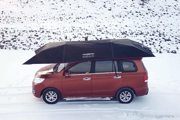 【ビデオ】出先でも雪や直射日光から愛車を守る! クルマ用の傘「ランモード」
