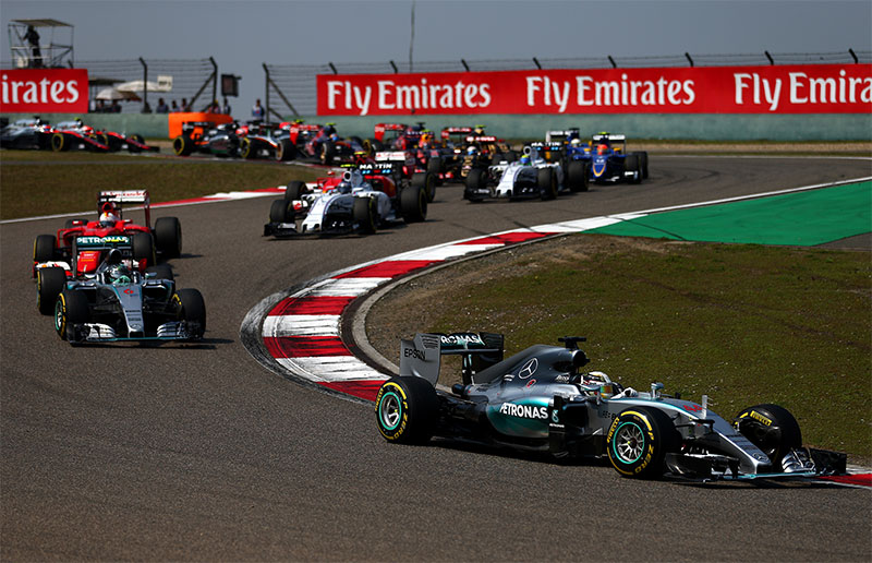 Lewis Hamilton leads the 2015 Chinese F1 Grand Prix.