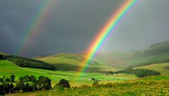 The rainbow on the left is how many colour blind people see; the image on the right is through the colour...