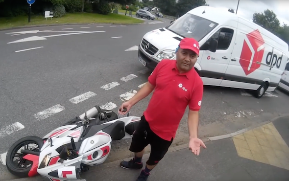 Careless delivery driver knocks biker to the ground - AOL