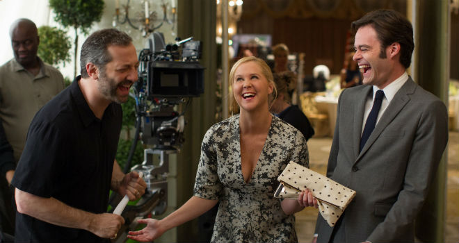 judd apatow, amy schumer, and bill hader on the set of trainwreck