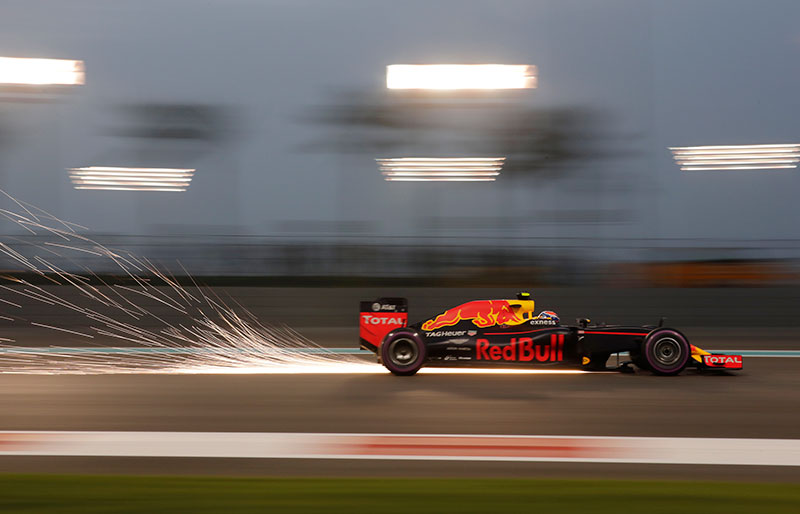 Dutch's driver Max Verstappen steers his Red Bull during the second practice session at the Yas Marina racetrack in Abu Dhabi, United Arab Emirates, Friday, Nov. 25, 2016. The Emirates Formula One Grand Prix will take place on Sunday.