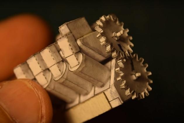 【ビデオ】これは凄い! 紙で作られた、本物同様に動く極小V8エンジン