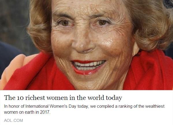 今、世界で最もリッチな女性トッ...