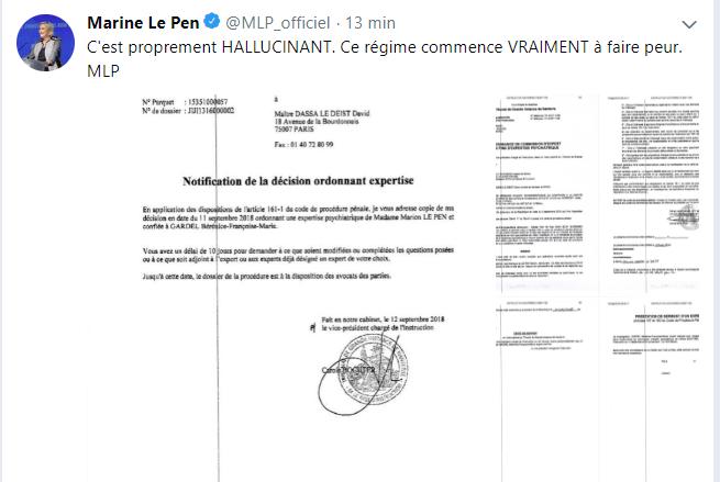 Marine Le Pen va devoir subir une expertise