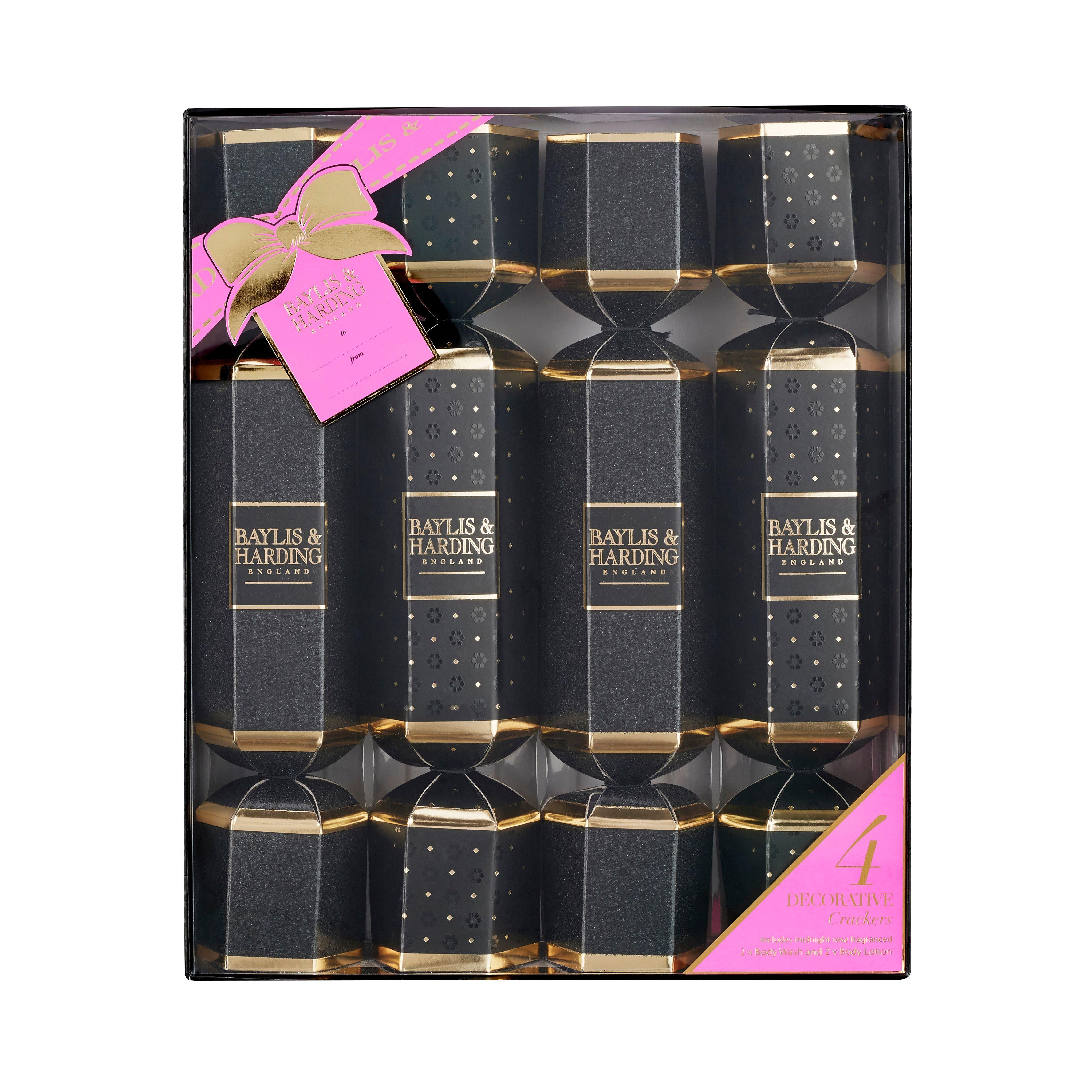 3 baylis harding midnight rose 4 cracker set 1200 - Best Christmas Crackers