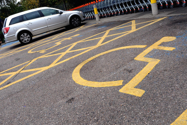Disabled parking spaces at a Sainsburys store in London.