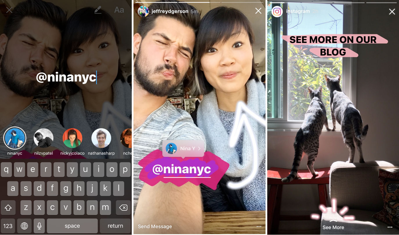 Instagram adds Boomerang clips, mentions and links to Stories