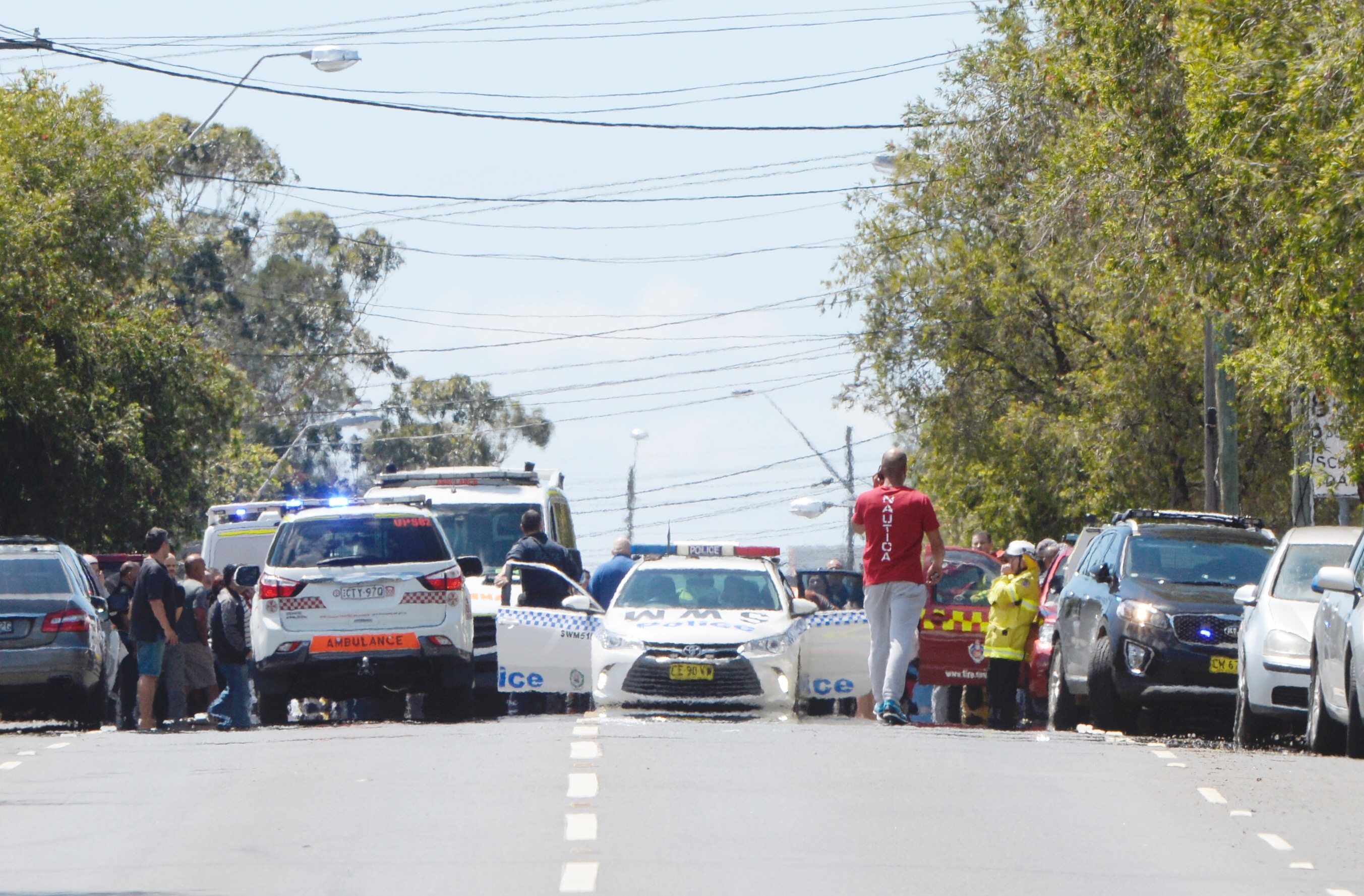 Scenes from Boronia St Public school as parents run to get their kids. Pic Nick Moir 7 nov