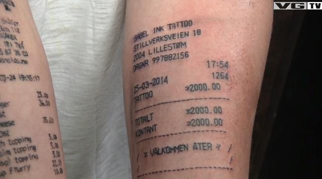 Norwegian Teen Gets Second Receipt Tattoo Aol News