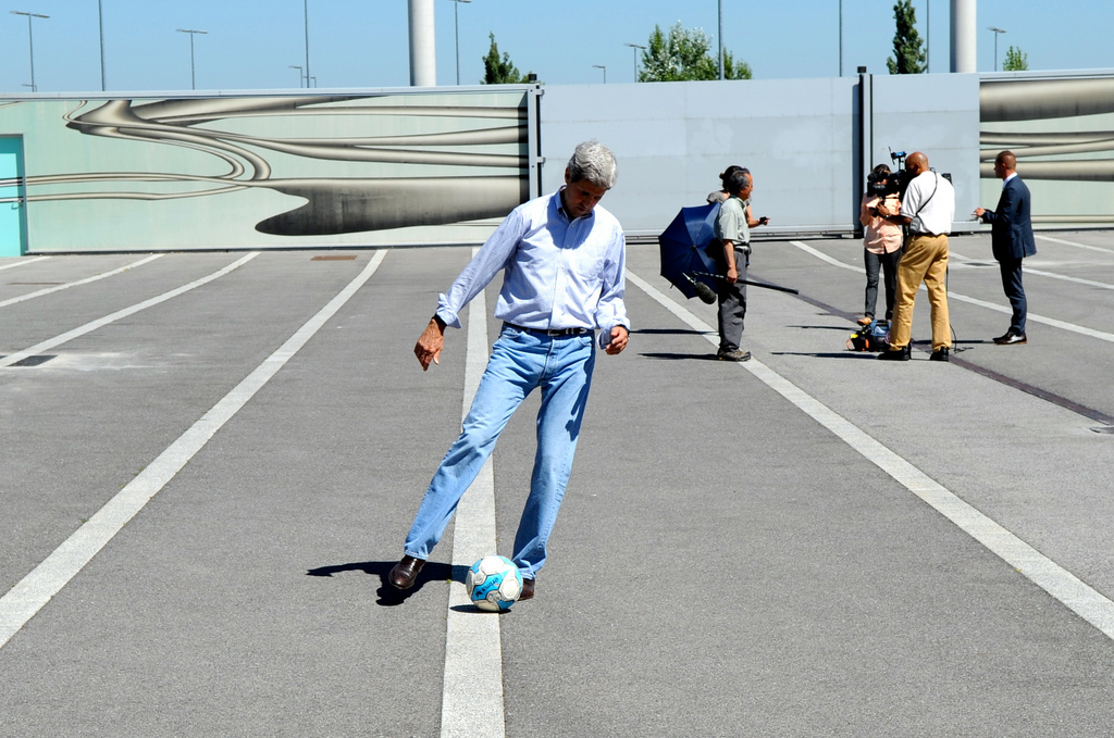 John Kerry kicking a soccer ball World Cup 2014