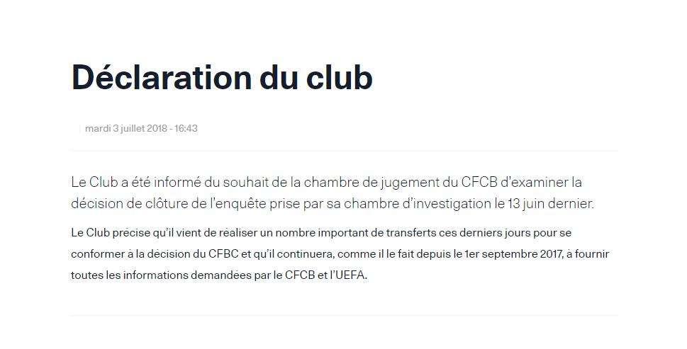 L'UEFA révise sa position sur le PSG