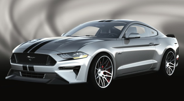 This 2018 Mustang Fastback styled by Air Design gives owners more ways to customize their Mustang. Backed by Air Design's long history of innovative, easy-to-install sleek designs, the vehicle features pieces that are specifically designed and crafted for their interchangeability. The full body kit includes a front bumper replacement, side skirts, a rear lower skirt, fender vents, and aggressive rear wing, as well as Ford Licensed Accessories hood, window, and side scoops.