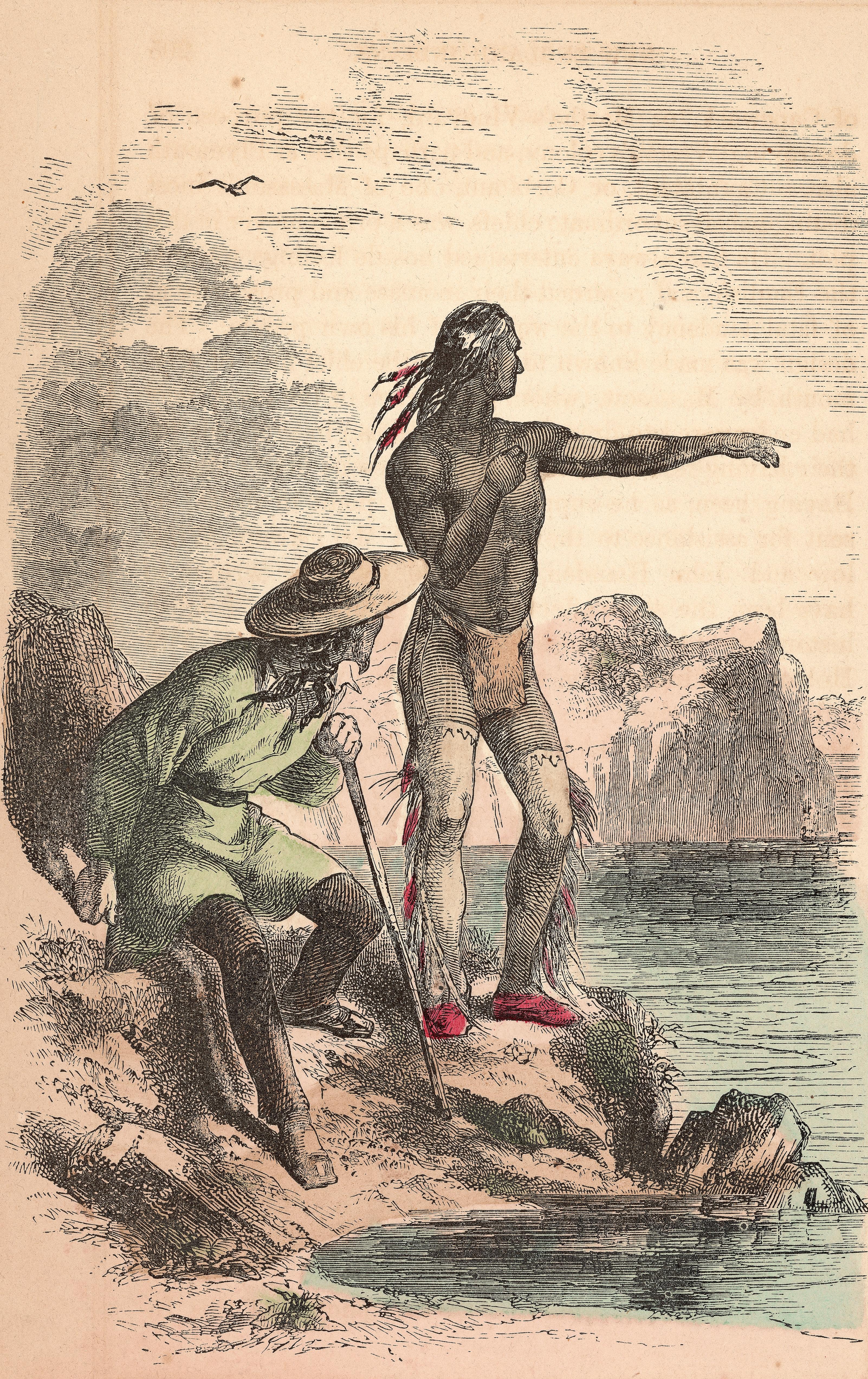 El indio Squanto aconseja a los primeros colonos ingleses en