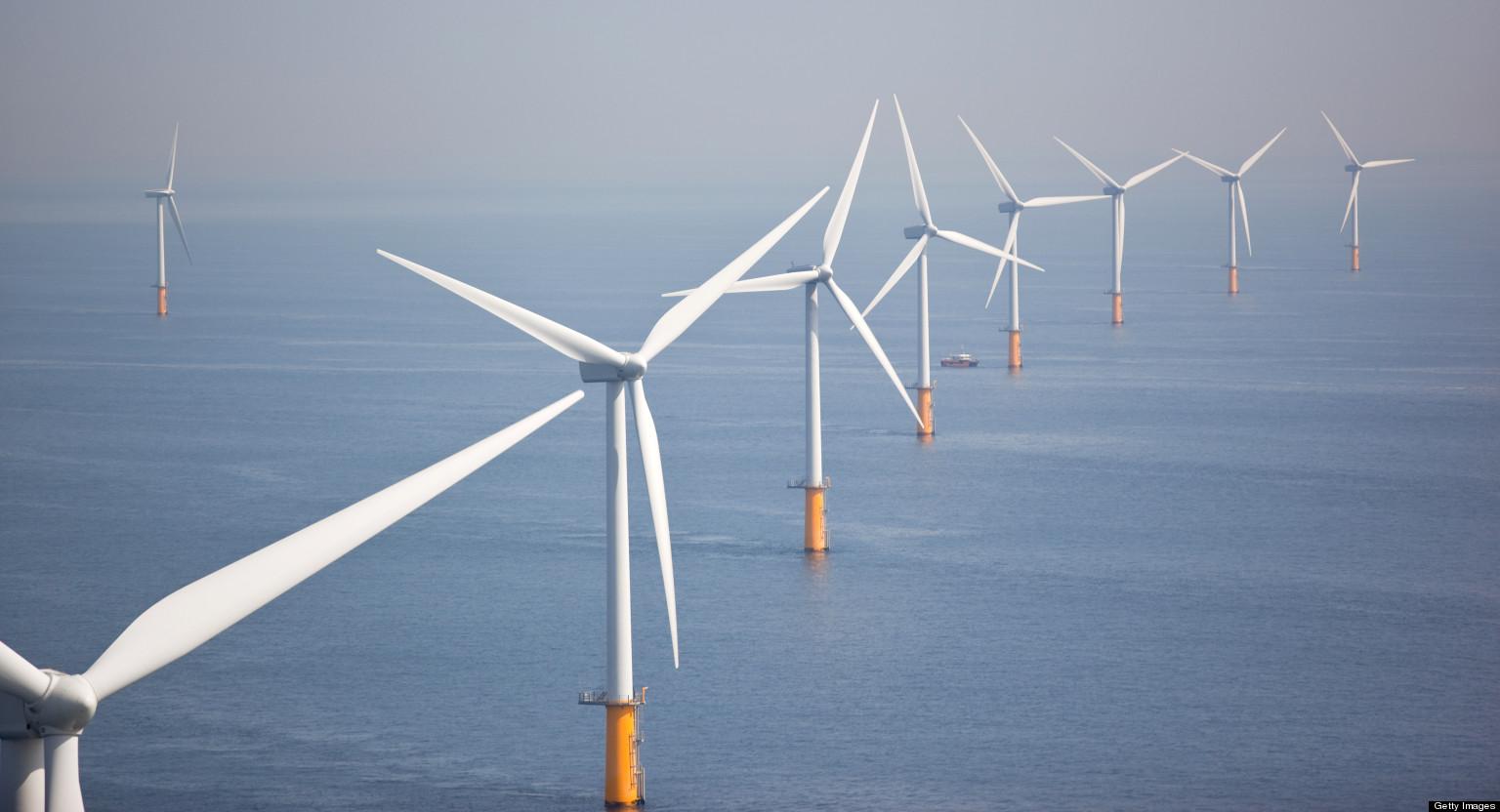 Series of wind turbines at sea