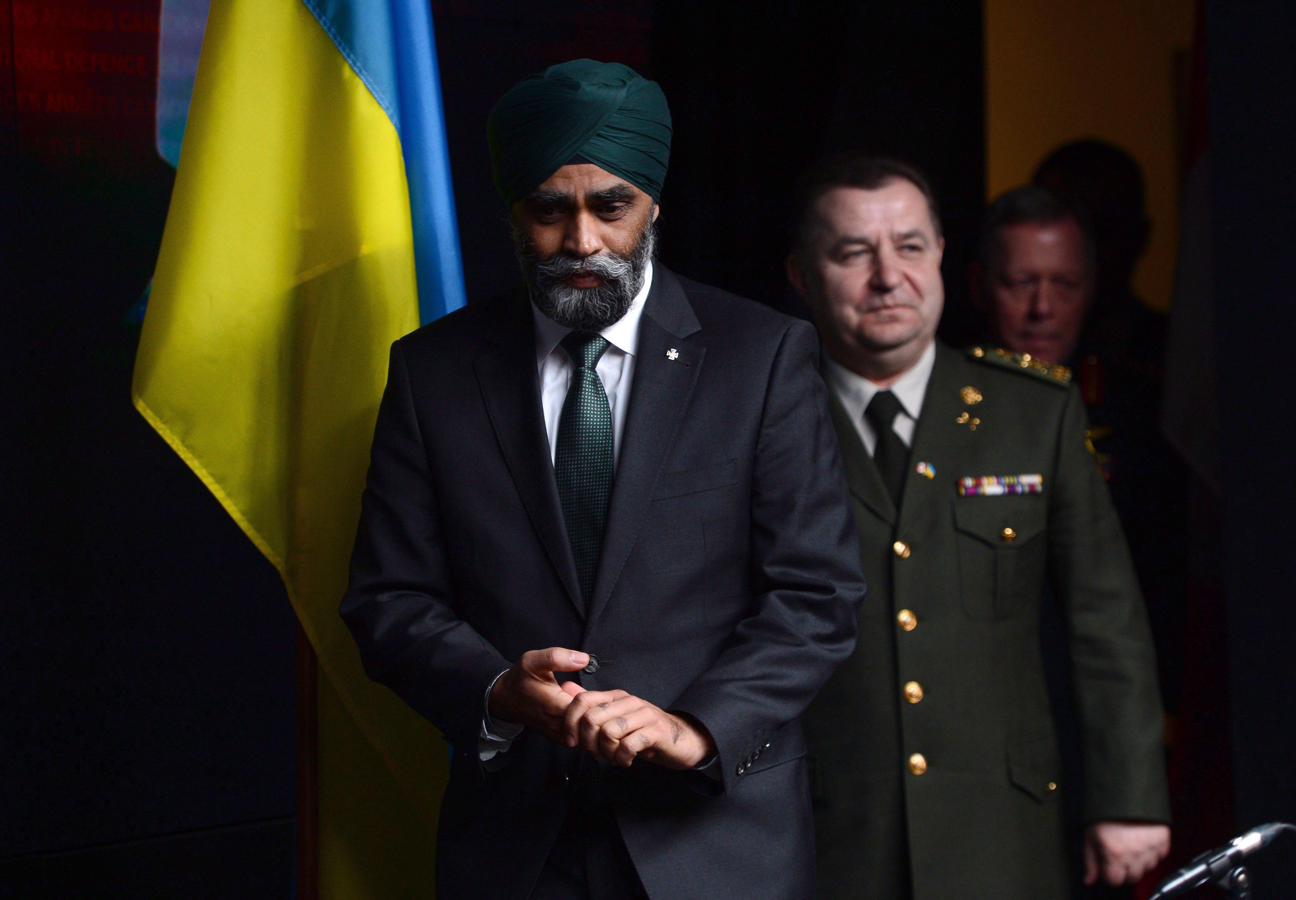 Defence Minister Harjit Sajjan and his Ukrainian counterpart, Defence Minister Stepan Poltorak, meet...