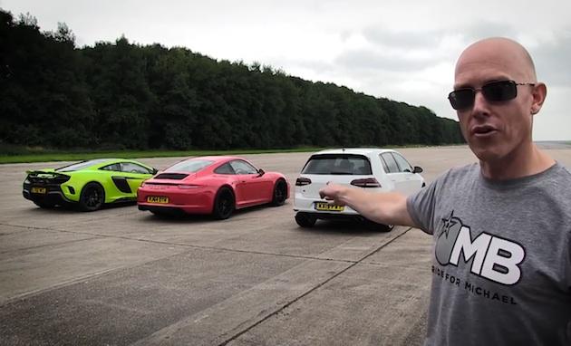 【ビデオ】マクラーレン「675LT」、ポルシェ「911カレラGTS」、VW「ゴルフ R」がドラッグレースで対決!