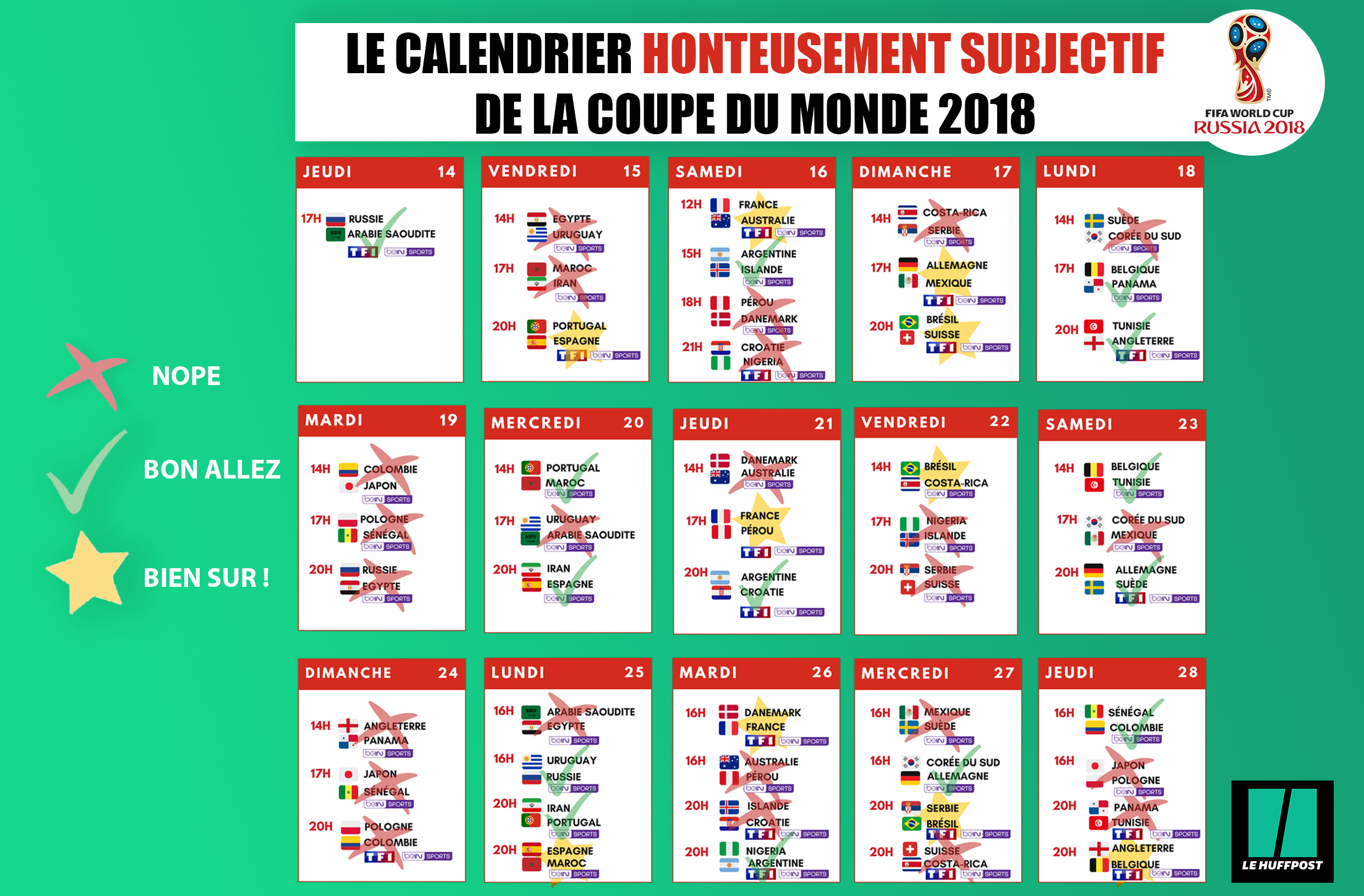 Coupe du monde 2018 le calendrier honteusement subjectif - Calendrier match france coupe du monde ...