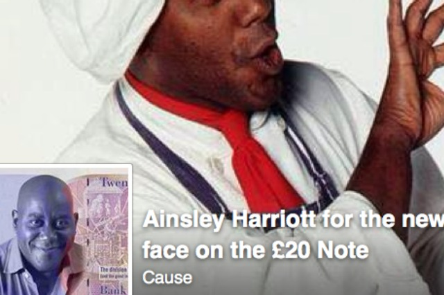 'Ainsley Harriott for the new face of the £20 note' on Facebook