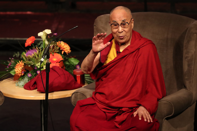 Dalai Lama speaking at the Millennium Forum Londonderry. He is addressing a Children of the Crossfire event on compassion in action to celebrate 20 years of the groundbreaking organisation's work.