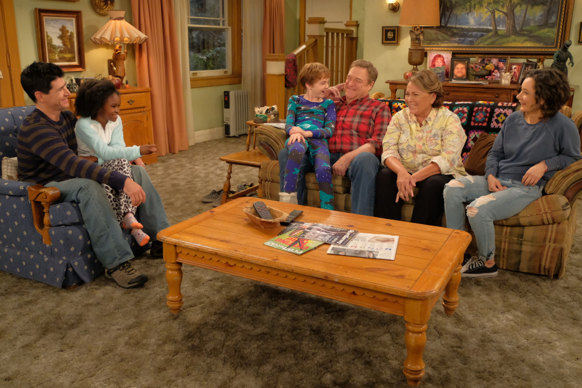ROSEANNE - Iconic comedy series �Roseanne� returns to The ABC Television Network on Tuesday, March 27, at 8 p.m. EDT, with nine new episodes featuring the complete original cast - Roseanne Barr, John Goodman, Sara Gilbert, Laurie Metcalf, Michael Fishman and Lecy Goranson. Sarah Chalke, who played the character Becky in later seasons, will also appear in another role. New cast joining the one-of-a-kind Conner family includes Emma Kenney as Harris Conner-Healy, Ames McNamara as Mark Conner-Healy and Jayden Rey as Mary Conner. With fresh stories that tackle today�s issues and even more laughs from a brilliant cast and crew that haven�t missed a beat, audiences old and new will celebrate the homecoming of America�s favorite working-class family. (ABC/Adam Rose) MICHAEL FISHMAN, JAYDEN REY, AMES MCNAMARA, JOHN GOODMAN, ROSEANNE BARR, SARA GILBERT