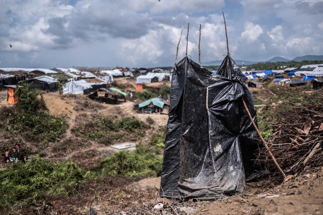 A makeshift latrine in a Rohingya refugee camp in