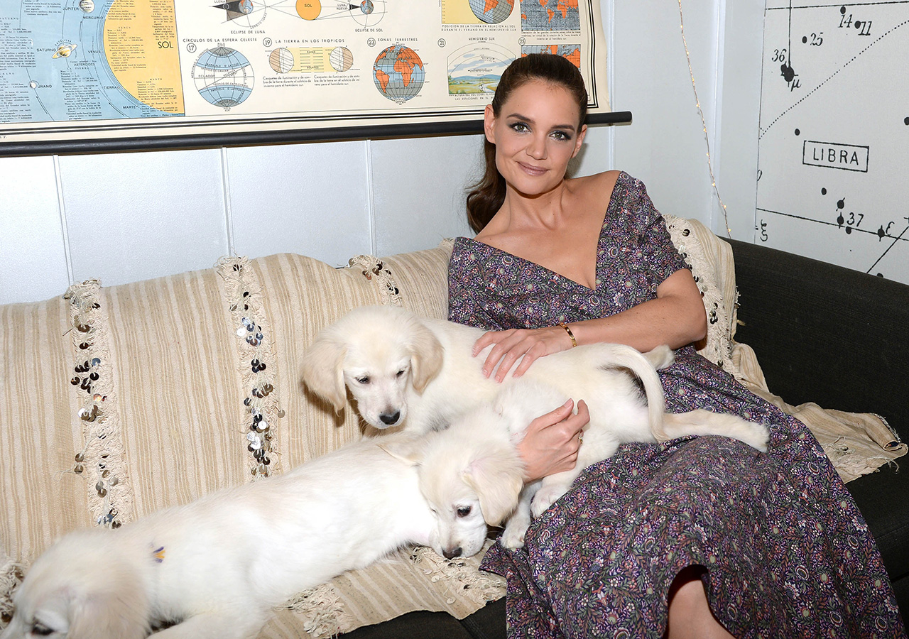 - New York, NY - 03/29/2017 - Katie Holmes, Andrew Rannells (Girls) and Golden Retriever puppies backstage at The Tonight Show With Jimmy Fallon.  -PICTURED: Katie Holmes with Golden Retrievers -PHOTO by: Michael Simon/startraksphoto.com -MS371748 Editorial - Rights Managed Image - Please contact www.startraksphoto.com for licensing fee Startraks Photo Startraks Photo New York, NY  For licensing please call 212-414-9464 or email sales@startraksphoto.com Image may not be published in any way that is or might be deemed defamatory, libelous, pornographic, or obscene. Please consult our sales department for any clarification or question you may have Startraks Photo reserves the right to pursue unauthorized users of this image. If you violate our intellectual property you may be liable for actual damages, loss of income, and profits you derive from the use of this image, and where appropriate, the cost of collection and/or statutory damages.
